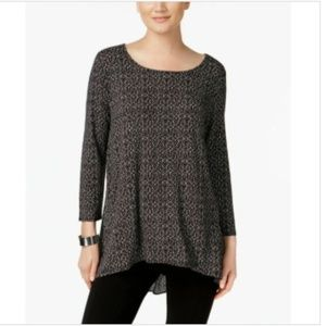 Alfani Mosaic Print Tunic Hi-Low Black White